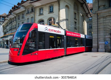 BERN/SWITZERLAND - MAY 28, 2012; Tram on the Bern street.