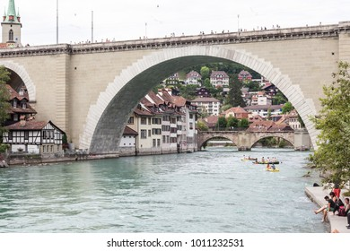 Bern,Switzerland-July 22nd, 2017: People enjoy summer on the banks of the Aare River.