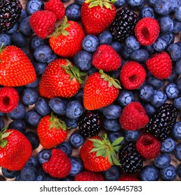 Berries Background. Strawberries, Blueberry, Raspberries, and Blackberry.