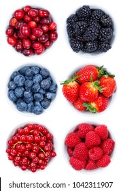 Berries berry fruits collection collage set from above bowl isolated on a white background