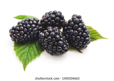 Berries blackberries with leaves isolated on a white background.