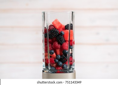 berries in a blender for smoothie