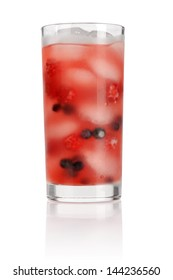 Berries Cocktail with Fresh blueberry and raspberry isolated on white