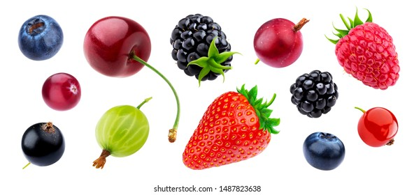 Berries collection isolated on white background with clipping path, fresh strawberry and blueberry, ripe cherry, raspberry, gooseberry and blackberry, black and red currants