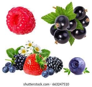 Berries collection. Raspberry, blueberry, currant, blackberry,strawberry isolated on white.