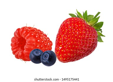 Berries collection. Raspberry, strawberry,blueberry  isolated on white.