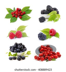 Berries - fruits collection isolated on white background. Healthy food.