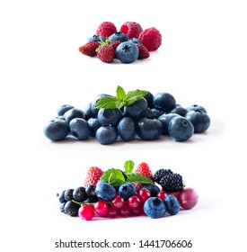 Berries isolated on white background. Ripe blueberries, wild strawberries, red and black currants, strawberries, mulberries and gooseberries. Background of mix berries with copy space for text.