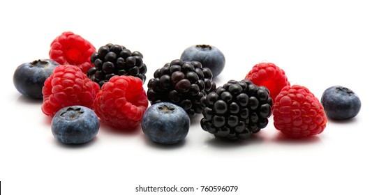 Berries isolated on white background blackberry blueberry and raspberry heap