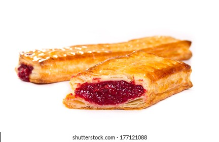 Berries jam filled pastry on white background