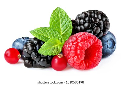 Berries mix isolated on white background. Raspberry, Red currant,  Blueberry and Blackberry with leaves