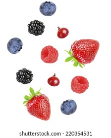 Berries mix isolated on white