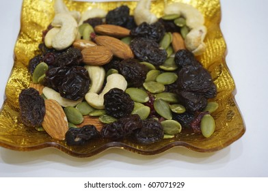 Berries and Nut Mix on Gold Plate
