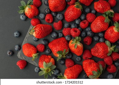 berries on a black background