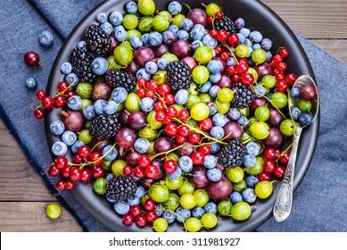 Berries on plate top view.Antioxidants, detox diet, breakfast.