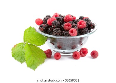 Berries: raspberries and blackberries isolated on a white background