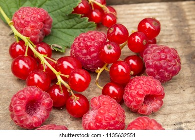 Berries of raspberries and red currants on an old board. Background in a rural style.