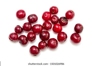 Berries of red cherry, cranberries, lingonberries on a white background.