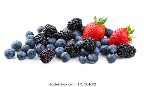 Berries Strawberries, blackberries and blueberries. Isolate on white background