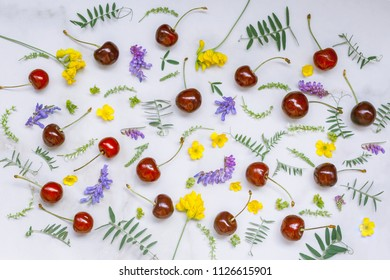 Berries of sweet cherry and wild flowers on a marble background. Top view.