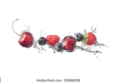 Berries with water splashes, isolated on white background