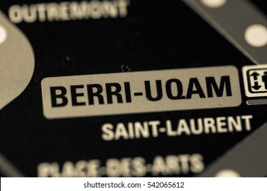 Berri-Uqam Station. Montreal Metro map.