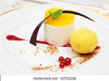 Berry dessert in plate close-up