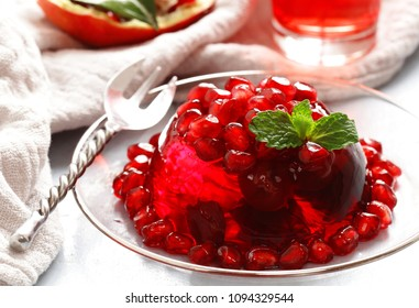 berry fruit jelly with fresh fruits - summer dessert