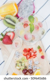 berry fruit jelly with fresh fruits and board - summer dessert