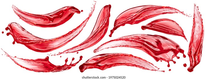 Berry juice splashes, fruit and berry compote splash collection isolated on white background