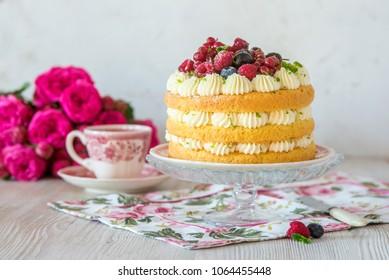 Berry lime vanilla mascarpone layer naked cake