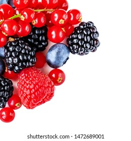 Berry mix isolated on a white background. Various fresh berries. Raspberry, Blueberry, Cranberry, Blackberry and Strawberry