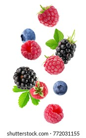 berry mix isolated on a white background - Shutterstock ID 772031155