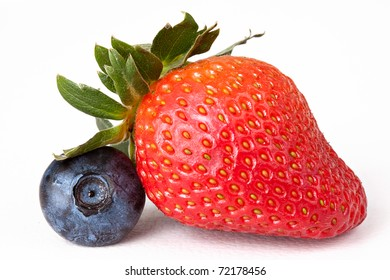 Berry Mix Macro: Blueberry and Strawberry Isolated against White Background