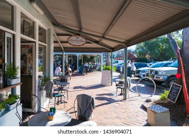 Berry, NSW, Australia-June 9, 2019: People enjoying the long weekend in the small historic country town of Berry, best known for award-winning restaurants, sophisticated shopping and wineries