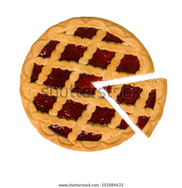 Berry pie with cut off  piece on a white background