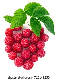 Berry raspberry top view green leaf creative idea healthy food, isolated on white background.