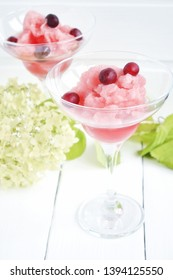Berry and Rose Granita  on white table. Homemade Granita Dessert, refreshing summer party food