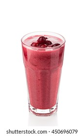 berry smoothie on a white background. consisting banana, cranberry, cherry juice, black currant syrup and ice. healthy summer drink