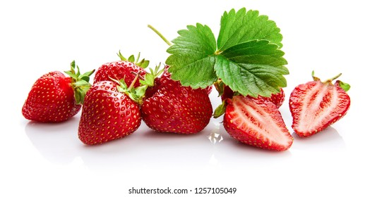 Berry strawberry with green leaf Fruity still life, isolated on white background.
