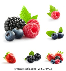 berry theme  mix composed of different images - Shutterstock ID 245275903
