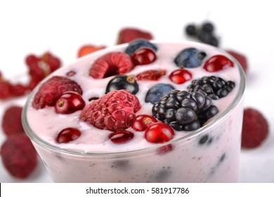 berry yogurt with berries in a glass