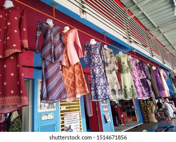 Bertam, Penang, Malaysia - 8 July 2019: Muslim women attire, This dress is on call Baju Kurung. A variety of Baju Kurung designs are on display to make it easier for customers to make choices