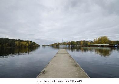 Berth on Lake Ladoga. Russia, Karelia, Valaam