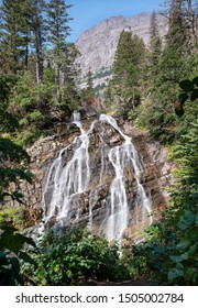 Bertha falls, Landscape of the Waterton Lakes National Park with blue sky, Alberta, Canada