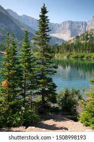 Bertha lake, Landscape of the Waterton Lakes National Park with blue sky, Alberta, Canada