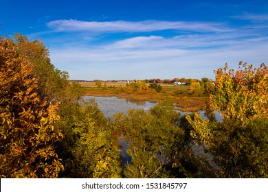 Berthierville Island Quebec Canada landscape at fall with pond and trees