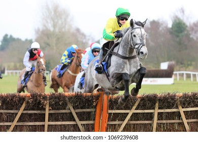Bertimont (FR) ridden by Bridget Andrews & trained by Dan Skelton jump the last fence in the 188Bet Handicap Hurdle. Market Rasen Racecourse, Lincs, UK : 18 February 2018 : Pic Mick Atkins