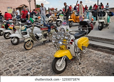Bertinoro, Emilia Romagna, Italy - June 14, 2014: vintage italian scooter customized in British mod style with much headlights, rearview mirrors and horns in meeting Innocenti Day of Lambretta club Um
