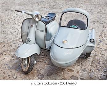"BERTINORO (FC) ITALY - JUNE 14: vintage scooter sidecar at rally ""Innocenti Day"" of Lambretta club Umbria, on June 14, 2014 in Bertinoro (FC) Italy"